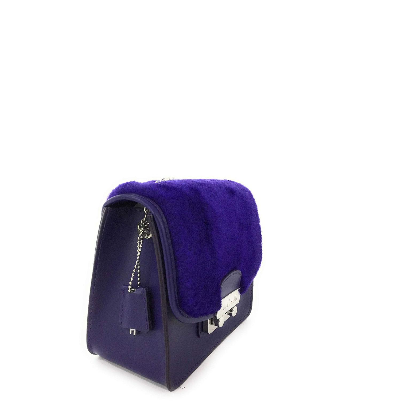 Borse donna tracolla Loristella Pelle catena Blu cobalto pochette  pellicciotto 68aeb72fe52