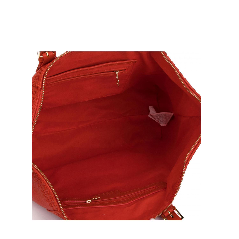 Borse donna a spalla Desigual Rosso Corallo borsa doppia tracolla etnico shopper