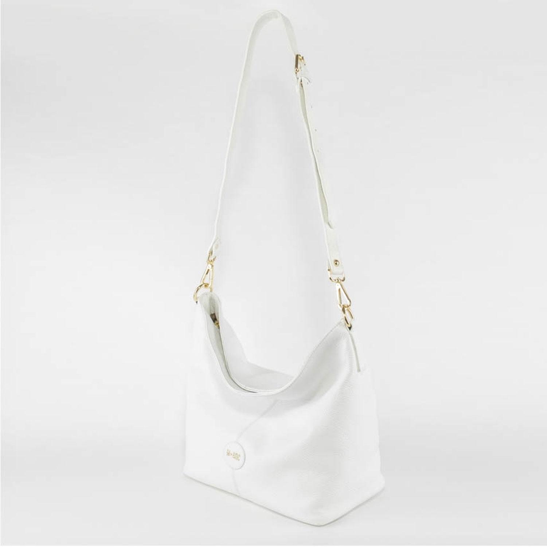 Braccialini borsa a spalla in pelle bianca con disegno