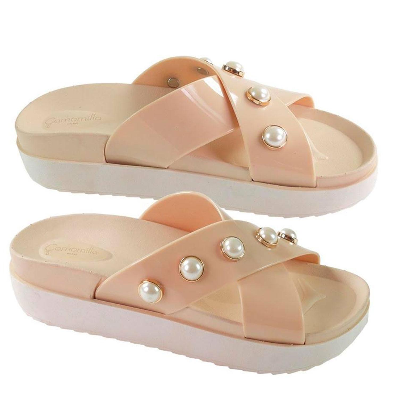 online store 985db 4905e Dettagli su Ciabatte donna estive Camomilla Milano Beige perle Pantofole  aperte mare zeppa